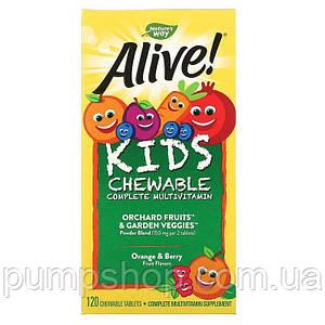 Вітаміни для дітей nature's Way, Alive! Kids Chewable Complete Multivitamin 120 таб.
