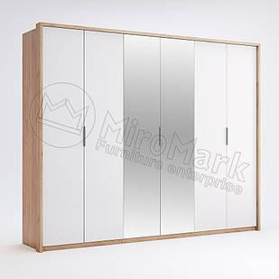 Шкаф 6 дв Асти Дуб Крафт-Глянец Белый ТМ МироМарк
