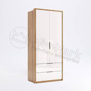 Шкаф 2 дв Асти Дуб Крафт-Глянец Белый ТМ МироМарк