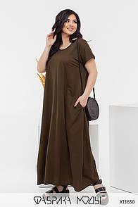 Довге плаття з коротким рукавом у великих розмірах вільного фасону літній (р. 50-56) 11527