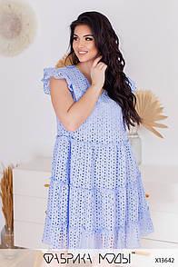 Літнє плаття з прошвы в батальних розмірах без рукавів вільного фасону (р. 50-56) 11529