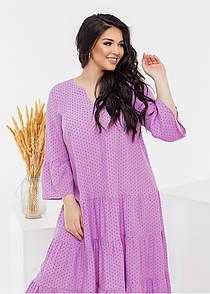 Вільне плаття в горошок у великих розмірах з воланами і широким рукавом літній (р. 50-60) 11531