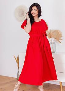Літнє плаття з коротким рукавом у великих розмірах вільного фасону під пояс (р. 50-60) 11532