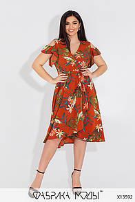 Платье на запах в цветочном принте в больших размерах свободного фасона под пояс (р. 50-56) 11539