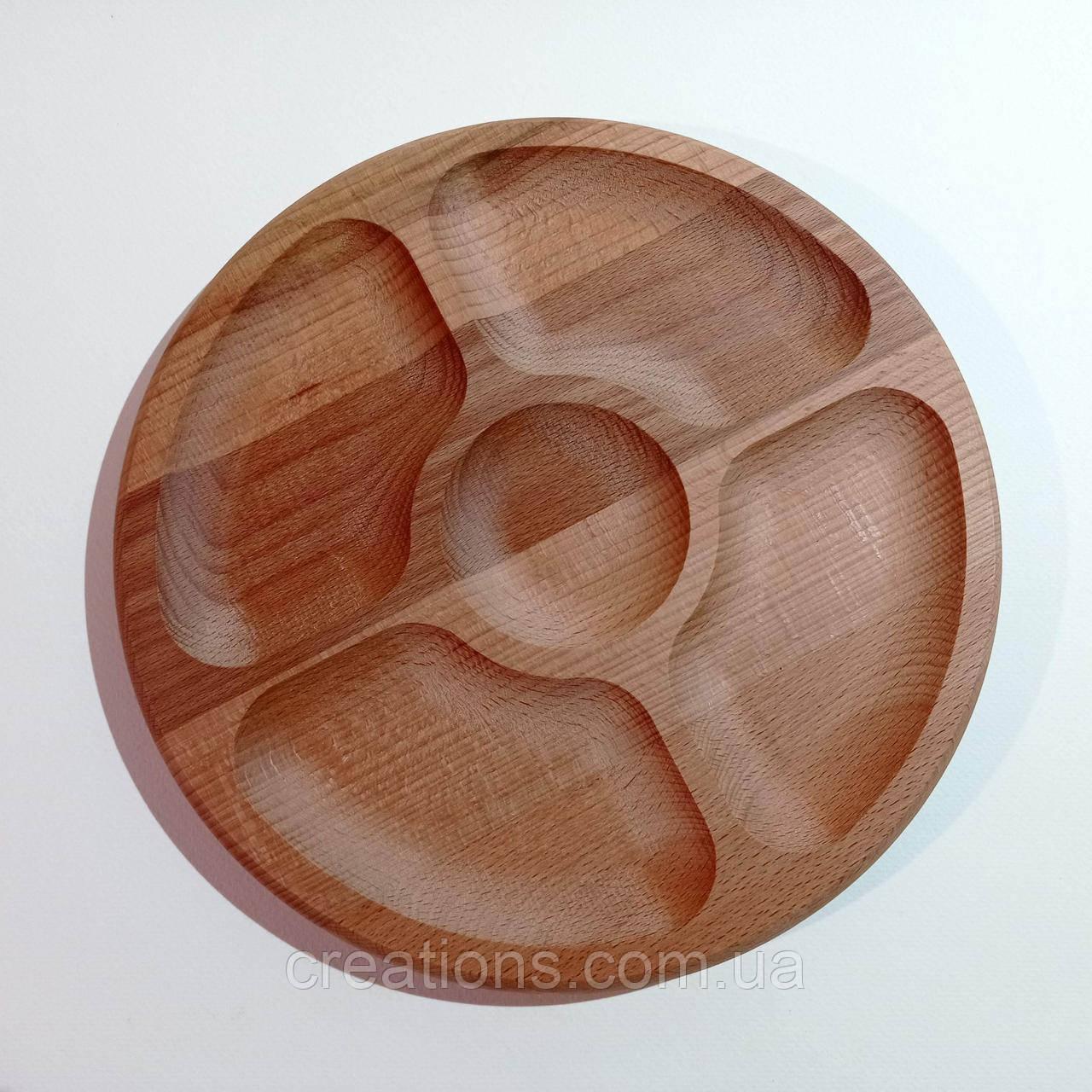 Менажница деревянная круглая 26 см. на 4 секции с соусницей из бука