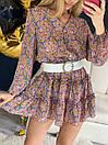 Шифонова сукня в квітковий принт коротке з воланами і широкими рукавами (р. 42-44) 16032407, фото 4
