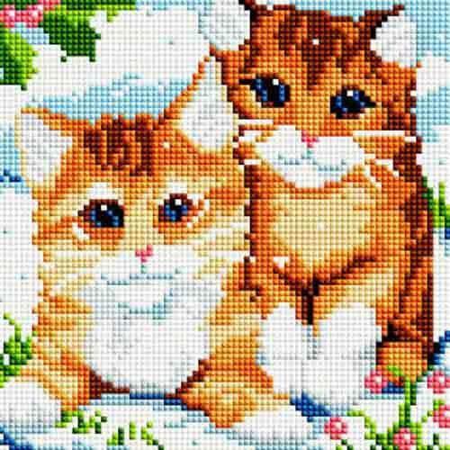 """Алмазная вышивка """"Рыжие котята"""" Белоснежка 20х20 см"""