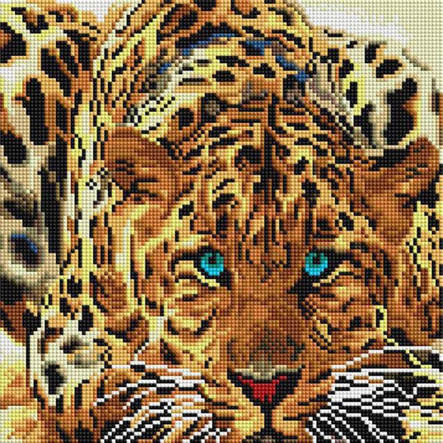 """Алмазна вишивка """"Леопард"""" Білосніжка 30х30 см"""