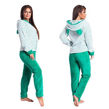 Махровий домашній костюм - піжама з вушками (р. 42-44,46-48)