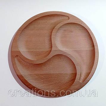 """Менажниця дерев'яна кругла 26 см. """"Три краплі"""" на 3 секції з бука"""