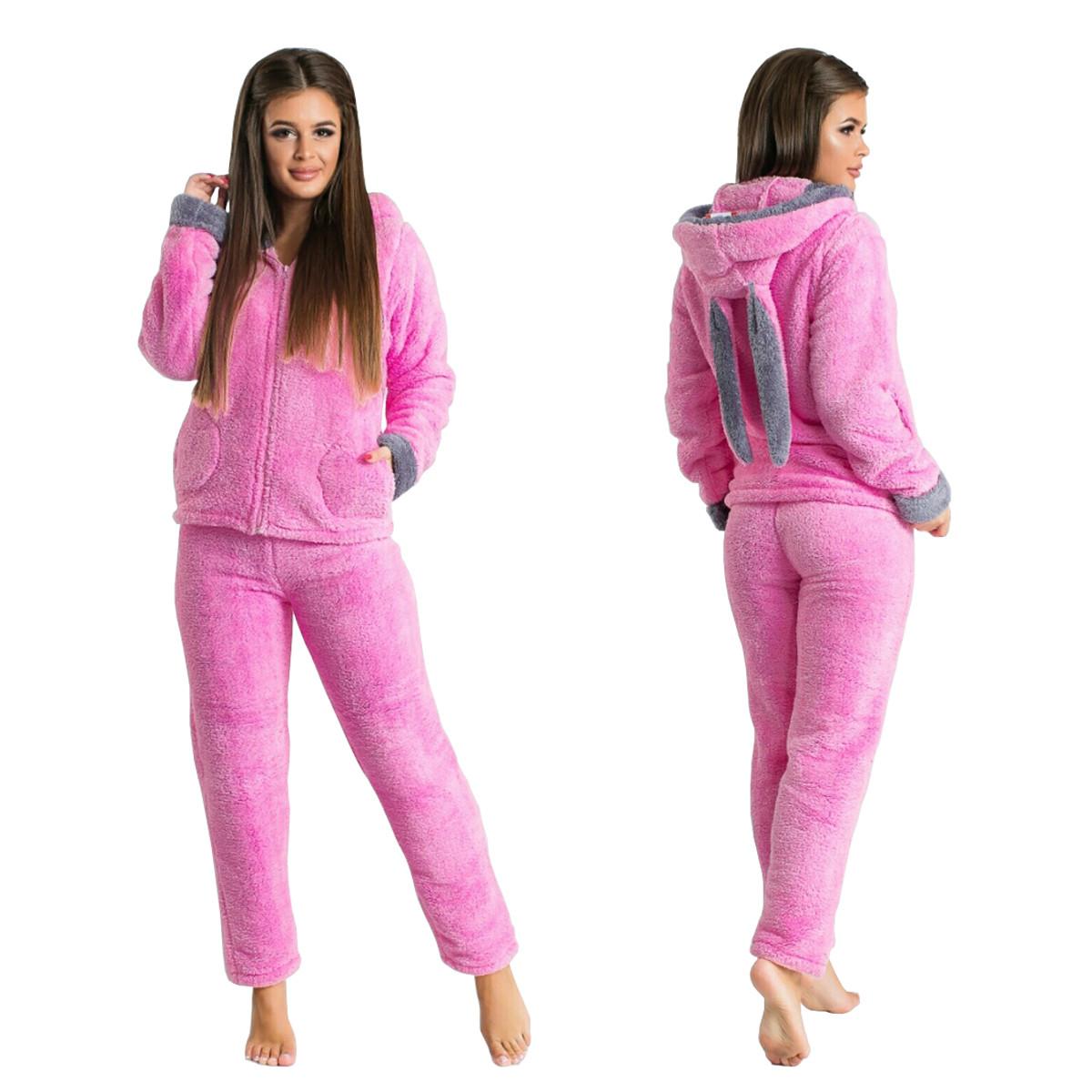 Теплий домашній костюм - піжама з вушками (р. 42-44,46-48) махра