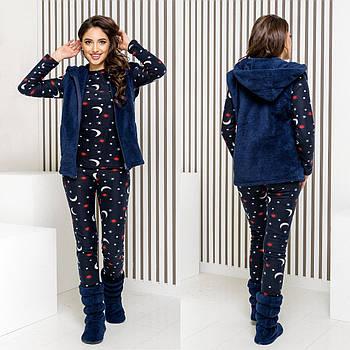 Женская теплая пижама с жилеткой и сапожками (р.42-44,46-48) флис+махра