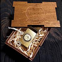 Зажим для денег с донцем гильзы .45ACP   клипса для денег в подарочной деревянной коробке