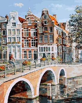 """Картина за номерами """"Імператорський канал в Амстердамі"""" Білосніжка 40х50 см"""