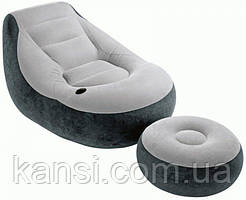 Надувне крісло з пуфом Air Sofa 130x99x76 велюрове