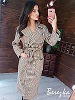 Кашемировое Женские пальто в клетку на запах под пояс женское ниже колен (р. 42, 44) 66mpa262R