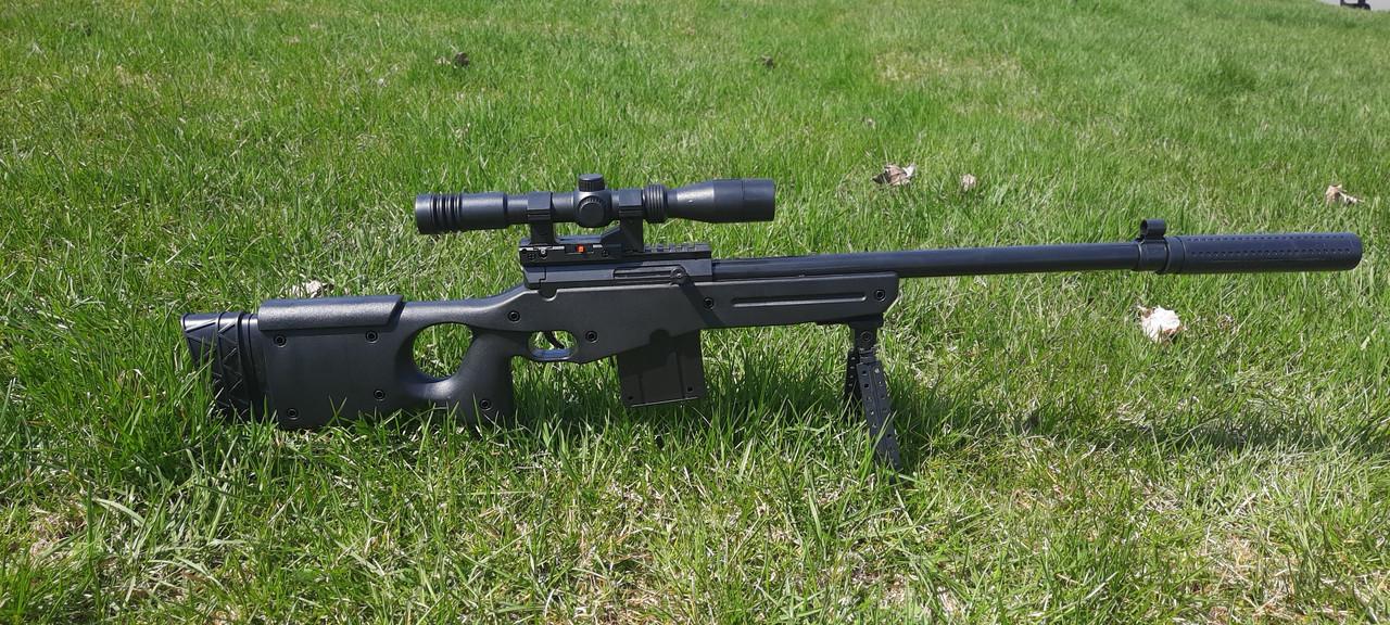 Детская снайперская винтовка на пульках с лазерным прицелом