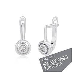 Серебряные серьги Silvex 925 с цирконие SWAROVSKI ZIRCONIA СК2С 187, КОД: 1900344