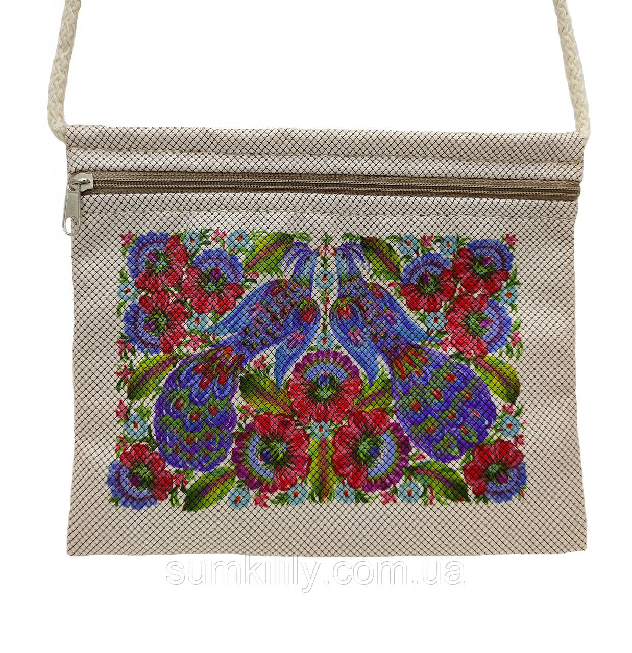 Текстильний гаманець Бузкові птиці