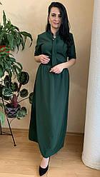 Костюм женский нарядный легкий в бутылочном цвете