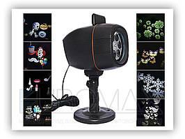 Проектор новорічний для святкового освітлення PIC-06-12 чорний, реверсивні картинки, проектори, проектор