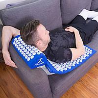 Коврик ортопедический Acupressure mat с подушкой, массаджный, синий, 65х41х2.5см, коврик, коврик с подушкой