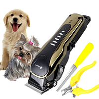 Машинка для стрижки животных GM 6063, насадки 4 шт. (3mm, 6mm, 9mm, 12mm),