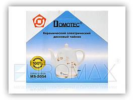 Керамический электрочайник Domotec MS 5054 белый, с принтом, 1.5L, 1500W, с ручкой и крышкой, антипригарное