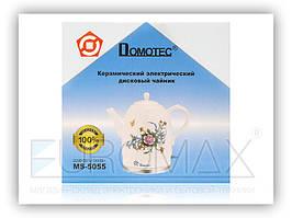 Керамический электрочайник Domotec MS 5055 белый, с принтом, 1.7L, 1500W, с ручкой и крышкой, антипригарное