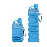 Силиконовая складная бутылка Portable Sport голубая, 500 мл, складная бутылка под воду