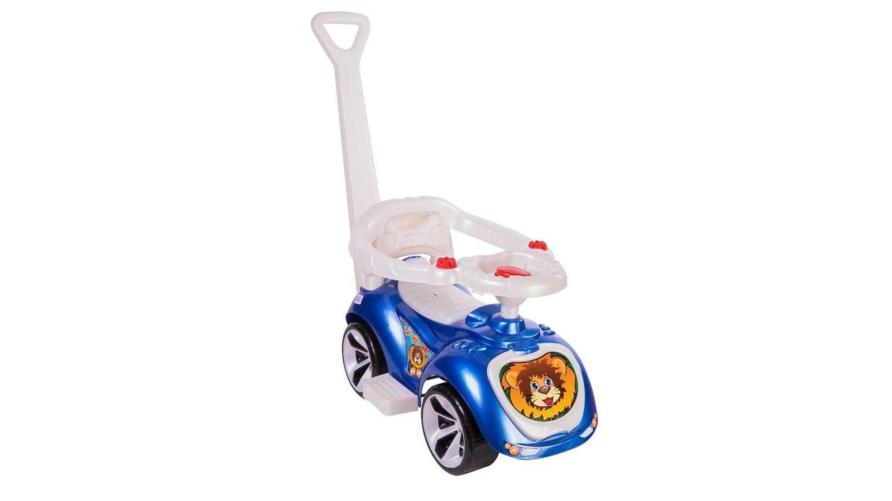 Толокар машинка каталка с родительской ручкой и ограничителем ORION ЛАПКА 809 синий