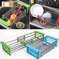 Многофункциональная складная кухонная полка Kitchen Drain Shelf Rack нержавеющая сталь/пластик, кухонная полка
