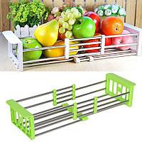 Многофункциональная складная кухонная полка Kitchen Drain Shelf Rack зеленный, нержавеющая сталь, настольнная,