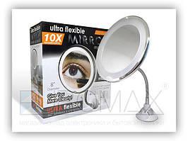 Косметичне дзеркало настінне з LED підсвічуванням Flexible на присоску, АААх3, 10-кратне збільшення, кругле,