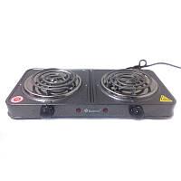 Настільна електроплита Domotec 5802 на дві конфорки, різні кольори, 1000W, емаль, електричні плити, плити