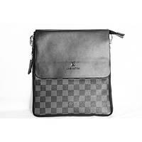 Сумка чоловіча на плече Louis Vuitton(репліка), чорна, на блискавці, PU шкіра, сумки, гаманець, Луї вітон,