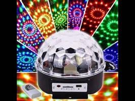 Диско куля Magic Ball Music Bluetooth, чорний, пульт ДУ, від мережі, 7 світлодіодів, 2 динаміка, диско куля,