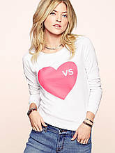 Свитшот  Victoria's Secret белый с сердцем