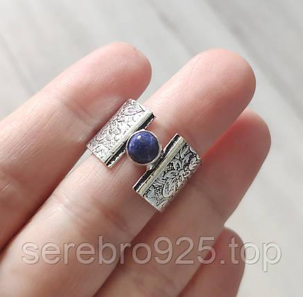 Стильное кольцо с лазуритом в серебре 18 размер, фото 2