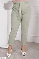 Повседневные стильные брюки женские летние укороченные большие размеры 48-54 арт. 504