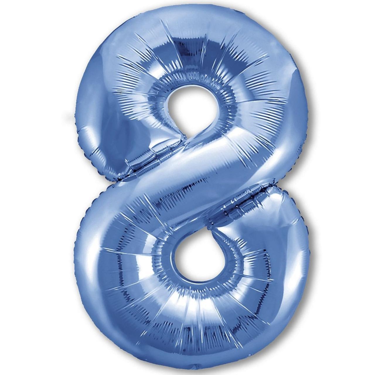 Фольгированная цифра 8 голубая слим  100 см Китай