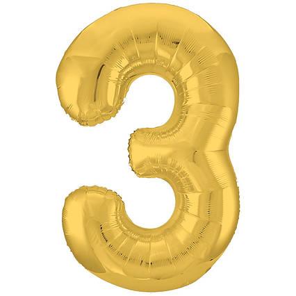 Фольгированная цифра 3 золото  слим  , 100 см , Китай . индивидуальная упаковка