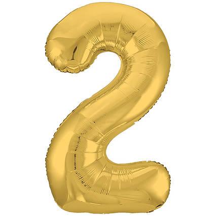Фольгированная шар цифра 2 золото слим  100  см Китай