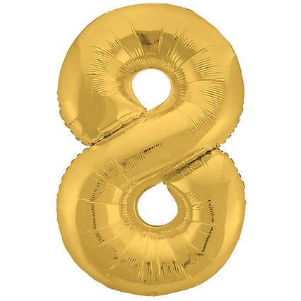 Фольгированная цифра шар 8 золото  слим  , 100  см , Китай