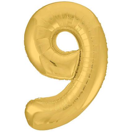 Фольгированная цифра 9 золото слим  , 100  см , Китай