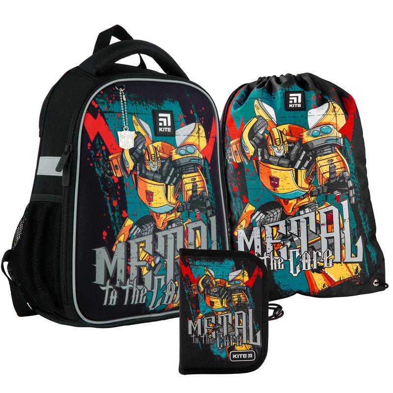 Шкільний набір ранець + пенал + сумка Kite Transformers (TF21-555S) 830 р 35x26x13,5 см 12 л чорний