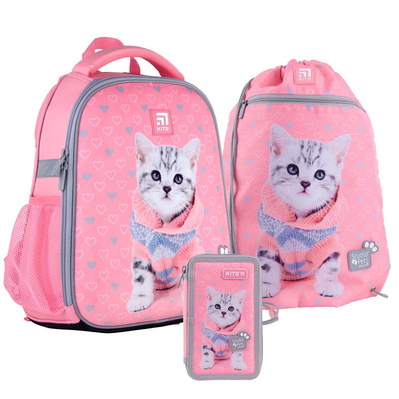 Школьный набор рюкзак + пенал + сумка Kite Studio Pets (SP21-555S-2)  760 г  35x26x13,5 см  12 л  розовый