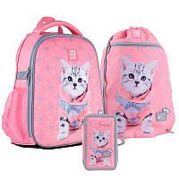 Школьный набор рюкзак + пенал + сумка Kite Studio Pets (SP21-555S-2)  760 г  35x26x13,5 см  12 л  розовый, фото 1