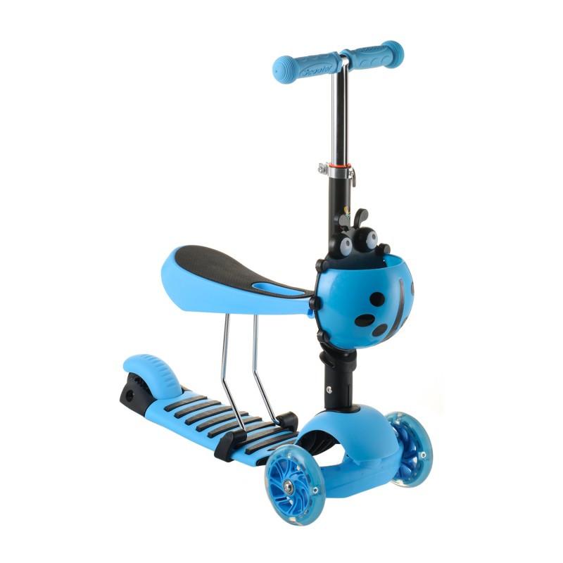 Беговел Scooter 17-1 от 1 года синий | трехколесный самокат с корзинкой, сидением и светящимися колесами