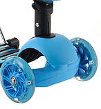 Беговел Scooter 17-1 от 1 года синий | трехколесный самокат с корзинкой, сидением и светящимися колесами, фото 2